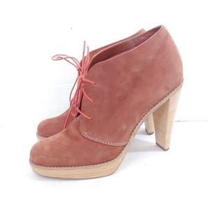 Cole Haan Air orange suede high heel booties